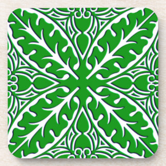Moroccan tiles - emerald green and white beverage coaster