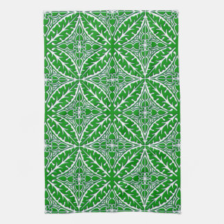 Moroccan tiles - emerald green and white towel