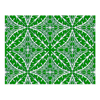 Moroccan tiles - emerald green and white postcard