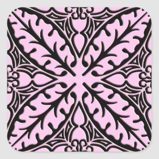 Moroccan tiles - ice pink and black square sticker