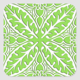 Moroccan tiles - lime green and white square sticker
