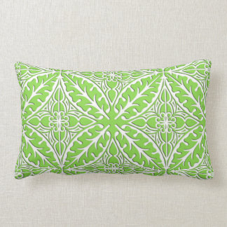 Moroccan tiles - lime green and white throw pillow