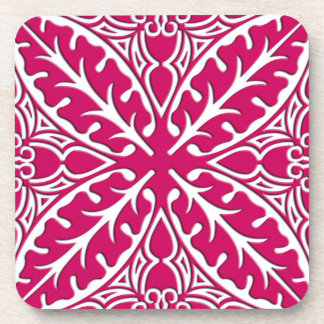 Moroccan tiles - magenta and white drink coaster