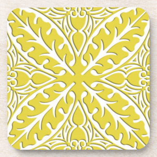 Moroccan tiles - mustard gold and white beverage coaster