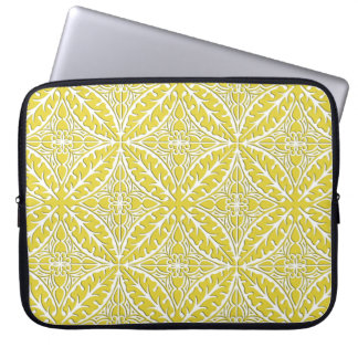Moroccan tiles - mustard gold and white laptop sleeve