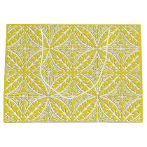 Moroccan tiles - mustard gold and white large gift bag