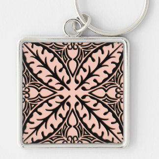 Moroccan tiles - peach pink and black keychain