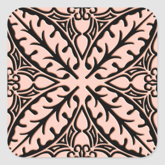 Moroccan tiles - peach pink and black square sticker