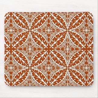 Moroccan tiles - rust brown and white mouse pad