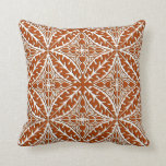Moroccan tiles - rust brown and white pillow