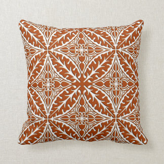 Moroccan tiles - rust brown and white throw pillow