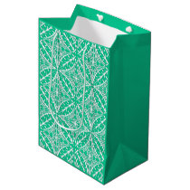 Moroccan tiles - turquoise and white medium gift bag