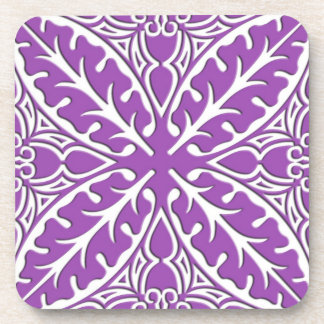 Moroccan tiles - violet and white drink coaster