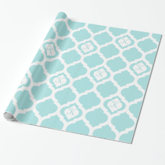 Moroccan trellis aqua teal and white monogram wrap gift wrapping paper