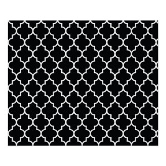 Moroccan Trellis, Latticework - Black White Poster