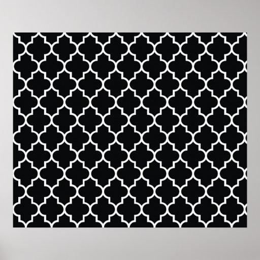 moroccan trellis latticework black white poster zazzle. Black Bedroom Furniture Sets. Home Design Ideas