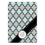 Moroccan Trellis, Latticework - Blue Gray Black Large Business Cards (Pack Of 100)