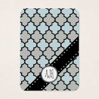 Moroccan Trellis, Latticework - Blue Gray Black Business Card