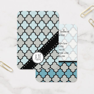 Moroccan Trellis, Latticework - Blue Gray Black Business Card