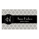 Moroccan Trellis, Latticework - Gray White Double-Sided Standard Business Cards (Pack Of 100)