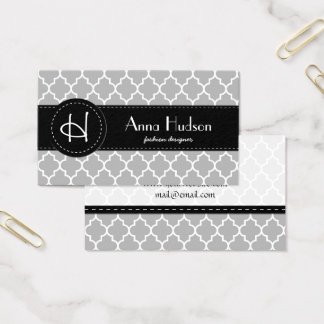 Moroccan Trellis, Latticework - Gray White Business Card
