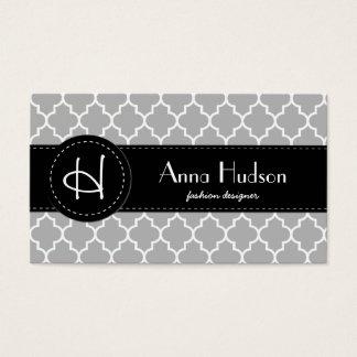 Moroccan Trellis, Latticework - Gray White Business Card