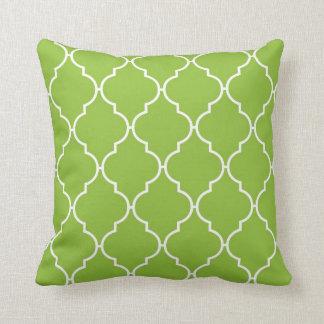 Moroccan Trellis, Latticework - Green White Throw Pillow