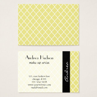 Moroccan Trellis, Latticework - Yellow White Business Card