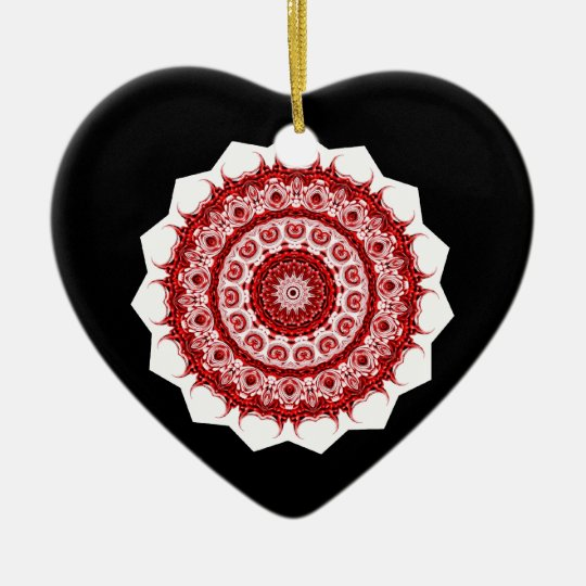 Moroccan Vintage Red and White tile STAR design Ceramic Ornament