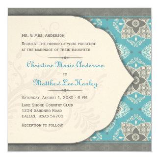 """Moroccan Wedding Invitation 5.25"""" Square Invitation Card"""