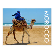 morocco arab ride camel seaside beach postcard