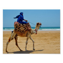 morocco arab ride camel seaside beach poster