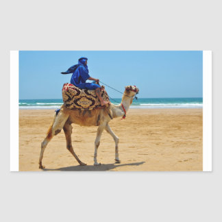 morocco arab ride camel seaside beach rectangular sticker