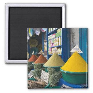 MOROCCO, Atlantic Coast, ESSAOUIRA: Spice Market 2 Inch Square Magnet