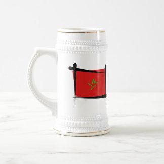 Morocco Brush Flag Beer Stein