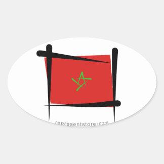 Morocco Brush Flag Oval Sticker