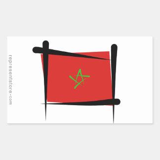 Morocco Brush Flag Rectangular Sticker