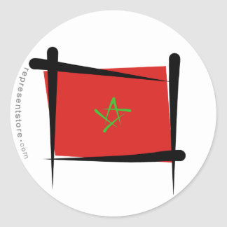 Morocco Brush Flag Classic Round Sticker