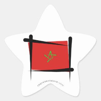 Morocco Brush Flag Star Sticker