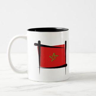 Morocco Brush Flag Two-Tone Coffee Mug