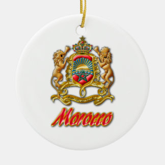 Morocco Coat of Arms Double-Sided Ceramic Round Christmas Ornament