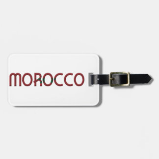 Morocco Flag Colors Typography Luggage Tag