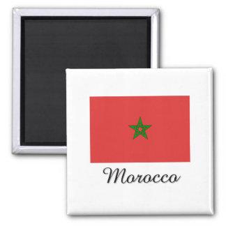 Morocco Flag Design 2 Inch Square Magnet