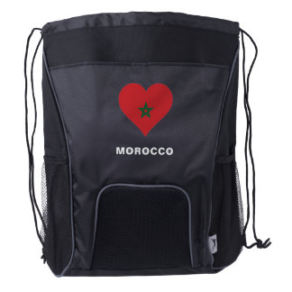 Morocco Flag Drawstring Backpack