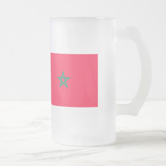 Morocco Flag Frosted Glass Beer Mug