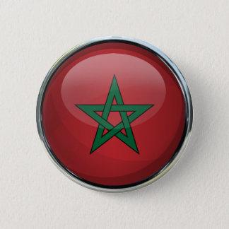 Morocco Flag Glass Ball Pinback Button