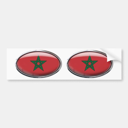 Morocco Flag Glass Oval Car Bumper Sticker