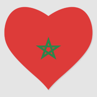 Morocco Flag Heart Sticker