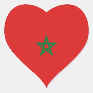 Morocco Flag Heart Sticker
