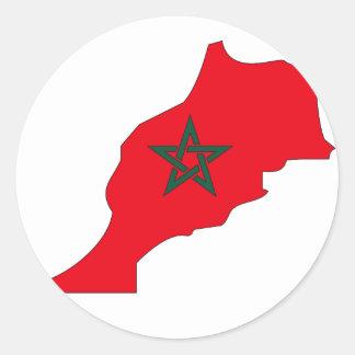 Morocco flag map classic round sticker